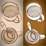 L'insieme di coffe aggredisce lo stile di schizzo del disegno Fotografia Stock