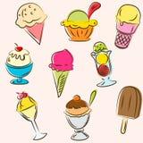 L'insieme di colorato gelato gli abbozzi Fotografia Stock