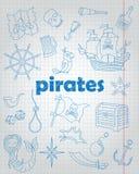 L'insieme di contorno delle icone sull'argomento di pirateria e le icone marittime e blu di contorno sul scrittura-libro riveston Immagine Stock Libera da Diritti