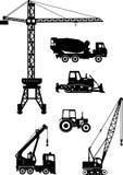 L'insieme di costruzione pesante lavora le icone a macchina Illustrazione di vettore Fotografia Stock Libera da Diritti