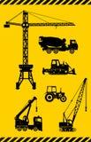 L'insieme di costruzione pesante lavora le icone a macchina Vettore Immagini Stock Libere da Diritti