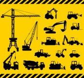 L'insieme di costruzione pesante lavora le icone a macchina Vettore Immagini Stock