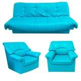 L'insieme di cuoio blu del sofà isolato su bianco Fotografie Stock