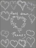 L'insieme di cuore frondoso disegnato a mano ha modellato le strutture, strutture bianche di clipart di vettore Fotografia Stock