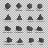 L'insieme di 3D dipende il fondo trasparente Immagine Stock Libera da Diritti