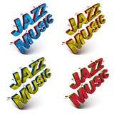 L'insieme di 3d ha rotto le parole di musica di jazz di vettore create con rifrange Immagine Stock