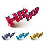 L'insieme di 3d ha rotto le parole hip-hop di vettore create con la rifrazione Fotografia Stock Libera da Diritti