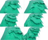 L'insieme di flusso liquido cade su superficie Immagini Stock Libere da Diritti