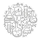L'insieme di forma rotonda dell'attrezzatura di laboratorio in bianco e nero ha descritto lo stile di scarabocchio Composizione d illustrazione vettoriale