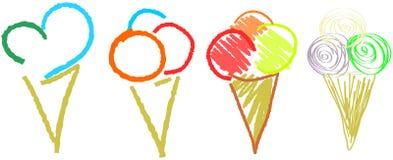 L'insieme di gelato isolato Immagini Stock Libere da Diritti