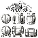 L'insieme di legno del barilotto ed il paesaggio rurale con la villa, vigna sistema, colline, montagne Illustrazione d'annata in  Immagini Stock