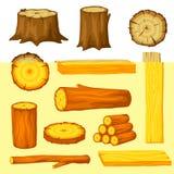 L'insieme di legno registra per silvicoltura e l'industria del legname Illustrazione dei tronchi, del ceppo e delle plance illustrazione vettoriale