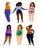 L'insieme di multirazziale più le donne di dimensione modella con differenti tipi o illustrazione vettoriale
