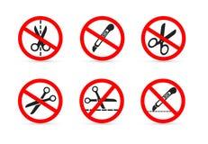 L'insieme di non si apre con un coltello o le forbici Illustrazione di vettore Isolato su priorità bassa bianca Fotografia Stock Libera da Diritti