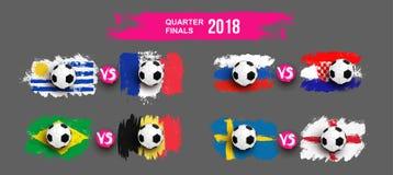 L'insieme di pallone da calcio realistico sulla bandiera dell'Uruguay contro la Francia, Brasile, Belgio, Russia, Croazia, Svezia Fotografia Stock