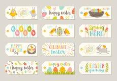 L'insieme di Pasqua etichetta ed etichette con i personaggi dei cartoni animati ed i saluti illustrazione vettoriale