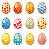 L'insieme di pasqua ha colorato le uova, stile del fumetto Fotografia Stock