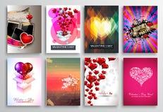 L'insieme di progettazione dell'aletta di filatoio dei biglietti di S. Valentino, invito carda i modelli Fotografia Stock