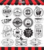 L'insieme di retro elementi d'annata del tè disegnati progetta, strutture, etichette dell'annata e distintivi Fotografia Stock Libera da Diritti