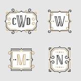 L'insieme di retro modelli alla moda dell'emblema del monogramma illustrazione di stock