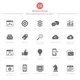 L'insieme di SEO e delle icone dello sviluppo ha messo 1 Immagini Stock