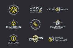 L'insieme di soldi digitali e bitcoin, il logo di cryptocurrency, le etichette ed il vettore dei distintivi progettano gli elemen Immagini Stock Libere da Diritti