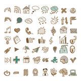 L'insieme di stile d'annata scarabocchia le icone Immagini Stock Libere da Diritti