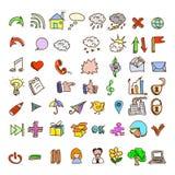 L'insieme di stile d'annata scarabocchia le icone Immagini Stock