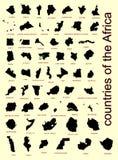 L'insieme di tutti i paesi dell'Africa vector la siluetta delle mappe Fotografia Stock