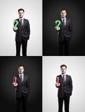 L'insieme di uomo con una domanda ed i contrassegni di esclamazione Fotografie Stock Libere da Diritti