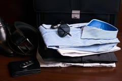 L'insieme di uomo gli accessori dell'abbigliamento e di affari di modo Fotografia Stock Libera da Diritti