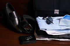 L'insieme di uomo gli accessori dell'abbigliamento e di affari di modo Immagine Stock Libera da Diritti
