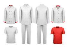 L'insieme di vari vestiti da lavoro. Immagini Stock