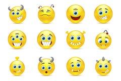 L'insieme di vettore degli smiley disegna i mostri stranieri a trentadue denti Fotografia Stock Libera da Diritti
