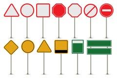 L'insieme di vettore del segnale stradale si imbarca sulla raccolta illustrazione di stock