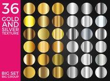L'insieme di vettore della raccolta dei quadrati dell'oro e di pendenze, dell'oro e dell'argento dell'argento, struttura il grupp Immagine Stock