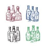 L'insieme di vettore delle bottiglie e dei vetri disegnati a mano della bevanda dell'alcool accatasta l'illustrazione illustrazione vettoriale