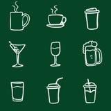 L'insieme di vettore dello scarabocchio del gesso beve le icone illustrazione di stock