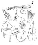 L'insieme di vettore dello strumento musicale Immagine Stock Libera da Diritti