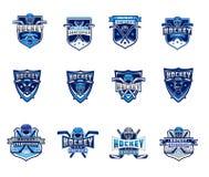 L'insieme di vettore di hockey su ghiaccio badges, autoadesivi, emblemi Fotografia Stock Libera da Diritti