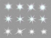 L'insieme di vettore di luce d'ardore scoppia con le scintille Fotografie Stock Libere da Diritti