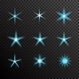 L'insieme di vettore di luce d'ardore scoppia sul nero Immagini Stock Libere da Diritti