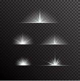 L'insieme di vettore di luce d'ardore scoppia sul nero Immagini Stock