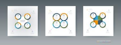 L'insieme di vettore, etichetta del cerchio di infographics 3D con le frecce firma e 4 opzioni Immagini Stock