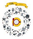 L'insieme disegnato a mano del fumetto di scarabocchio di vettore variopinto degli oggetti ed i simboli sul caffè cronometrano il Immagini Stock