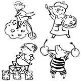 L'insieme divertente di vettore sveglio costumed i maiali divertenti royalty illustrazione gratis