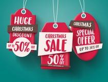 L'insieme enorme di vettore di vendita di Natale della vendita rossa etichetta l'attaccatura con 50% fuori da testo illustrazione di stock