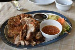 L'insieme fritto della carne di maiale Fotografie Stock