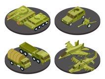 L'insieme isometrico dell'icona dei veicoli militari con i carri armati trasporta l'illustrazione di vettore dei titoli dell'arti illustrazione di stock