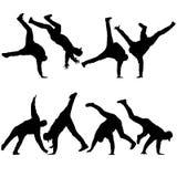 L'insieme nero profila il breakdancer su un fondo bianco illustrazione vettoriale